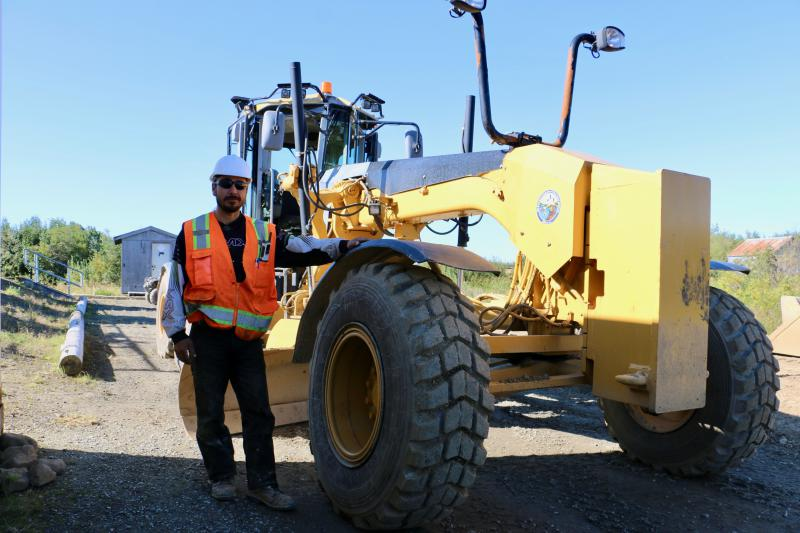 City of Napakiak Heavy Equipment Operator Harold Ilmar works to rebuild Napakiak's unpaved roads. The rebuilt roads will provide a stable surface for relocating more buildings this winter when the ground freezes. September 7, 2018.