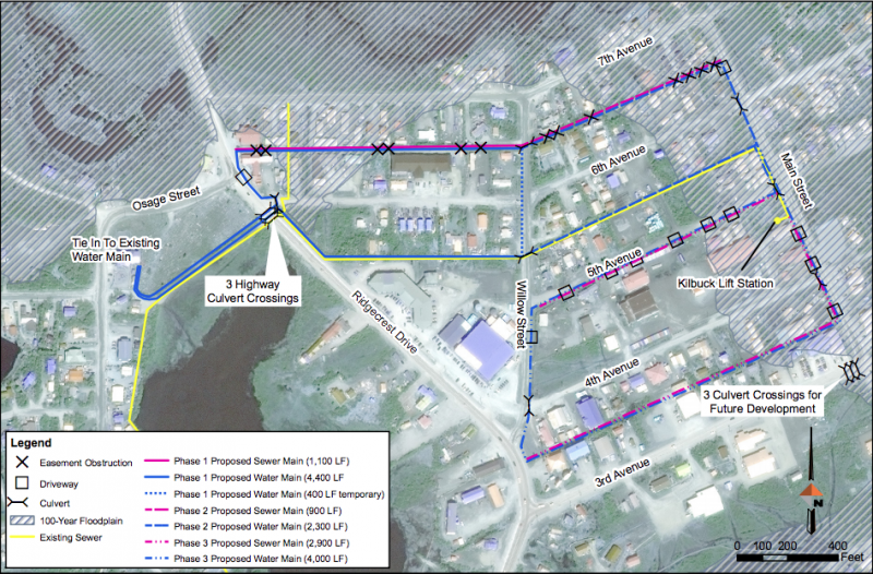At their December 11 meeting, the Bethel City Council will reconsider the Avenues piped water and sewer project. The above map shows where the proposed water and sewer pipes would go.