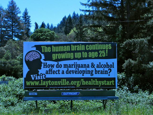 A billboard in Willits