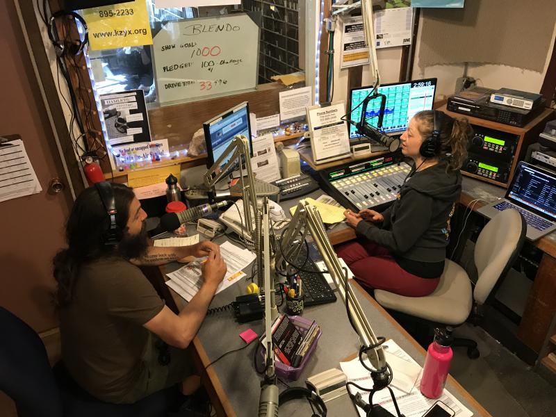 Ryano Corrigan and Christina Gianelli pitching Mendo Blendo at KZYX Pledge Drive