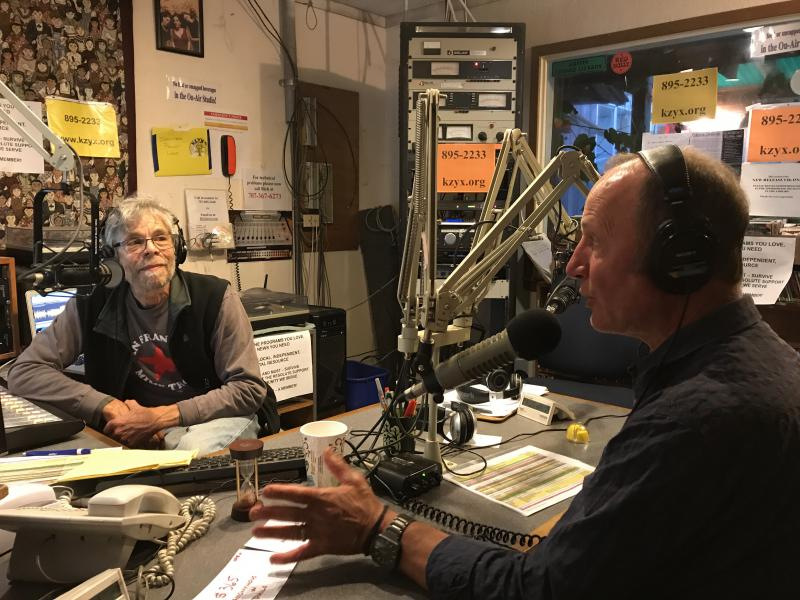 Radiogram programmer Jamie Roberts and Doug Browe in the Philo studio appeal for Pledge Drive support
