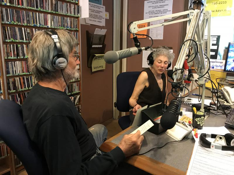 KZYX programmers Fred Wooley and Bessie Mae Mucho invite Pledge Drive donations