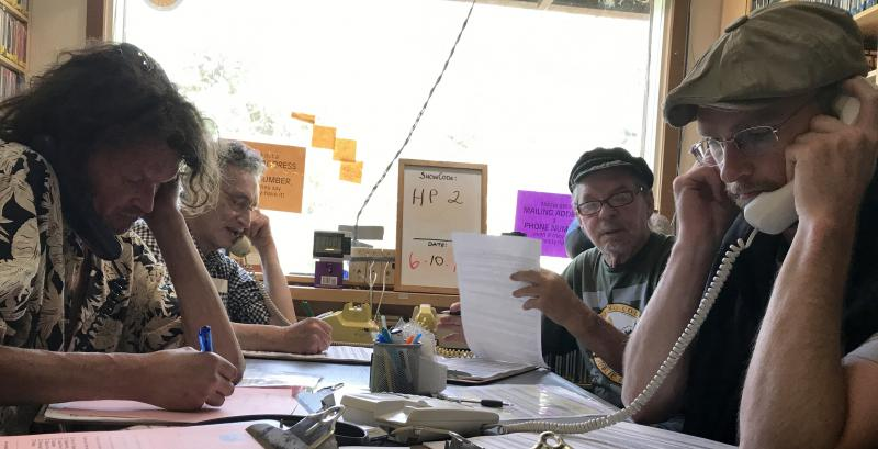 Volunteers take membership calls from listeners during KZYX Pledge Drive, a time of great fun, camaraderie, and commitment to community radio.