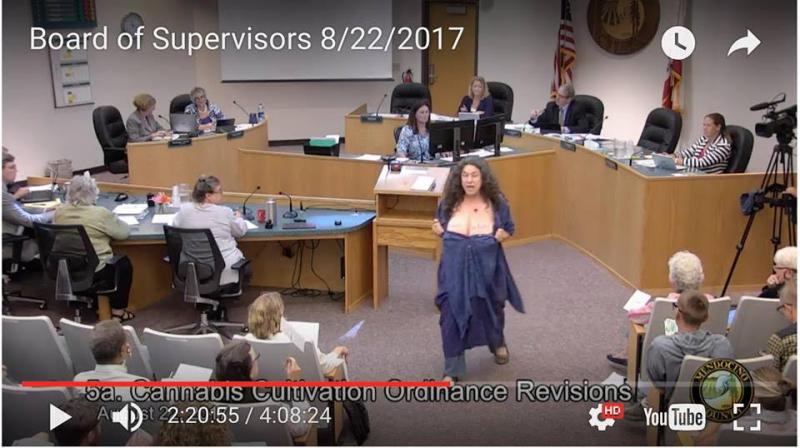 Sherry Glaser at Supervisor's meeting exclaiming Breasts Not Busts