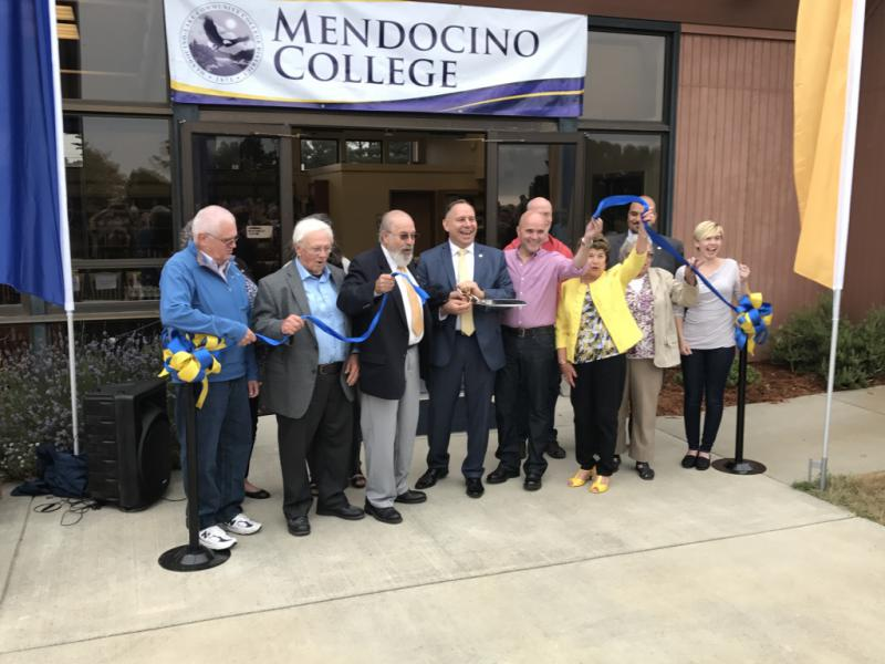 Mendocino Community College board members on August 9 cut the ribbon inaugurating the College's Coast Center in Fort Bragg. The campus was acquired from College of the Redwoods.