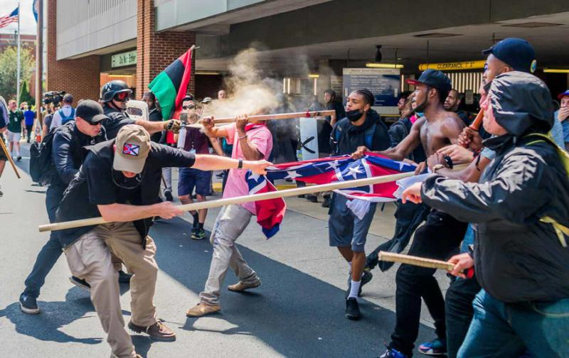 White supremacists clash with counter-protesters in Charlottesville, Virginia, August 12, 2017