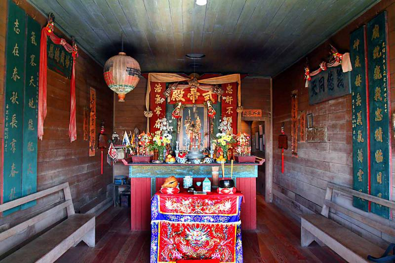 Inside the Kwan Tai temple