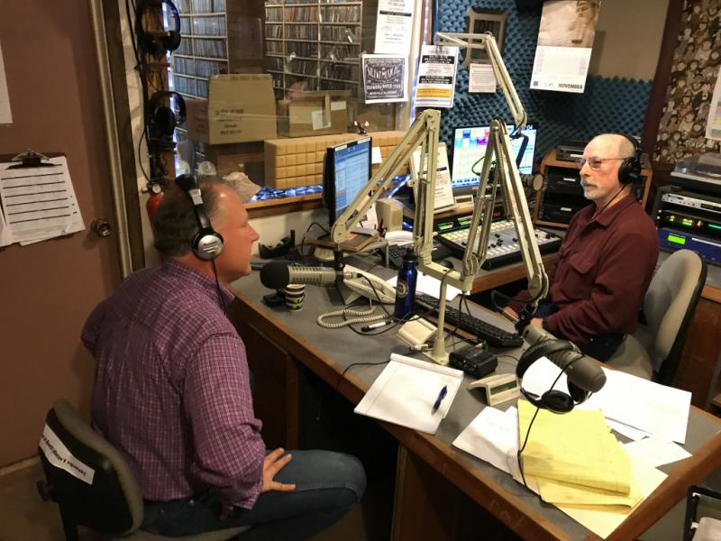 Mendocino County Sheriff Tom Allman with Politics A Love Story host Bob Bushansky in the KZYX studio 3 November 2017