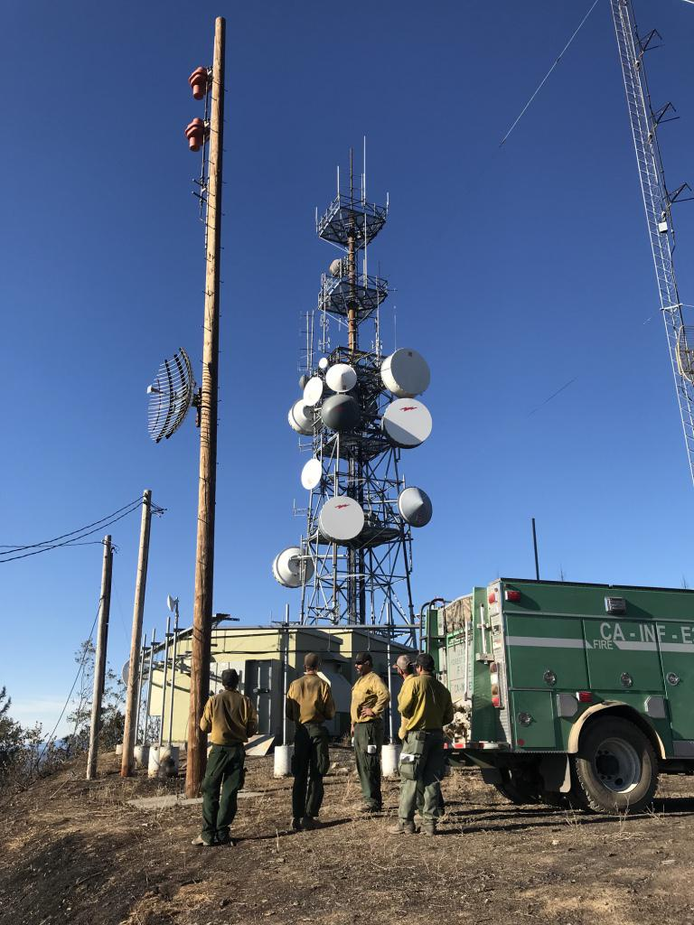 A Calfire crew from Big Bear views the antenna towers on Laughlin Ridge above Redwood Valley