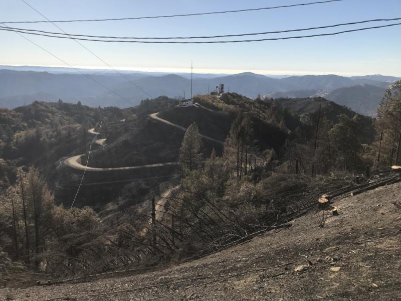 A view of one of several antenna towers that burned on Laughlin Ridge above Redwood Valley