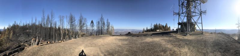 A panoramic view of the Laughlin Ridge antenna tower, which was broadsided by the Redwood Complex Fire