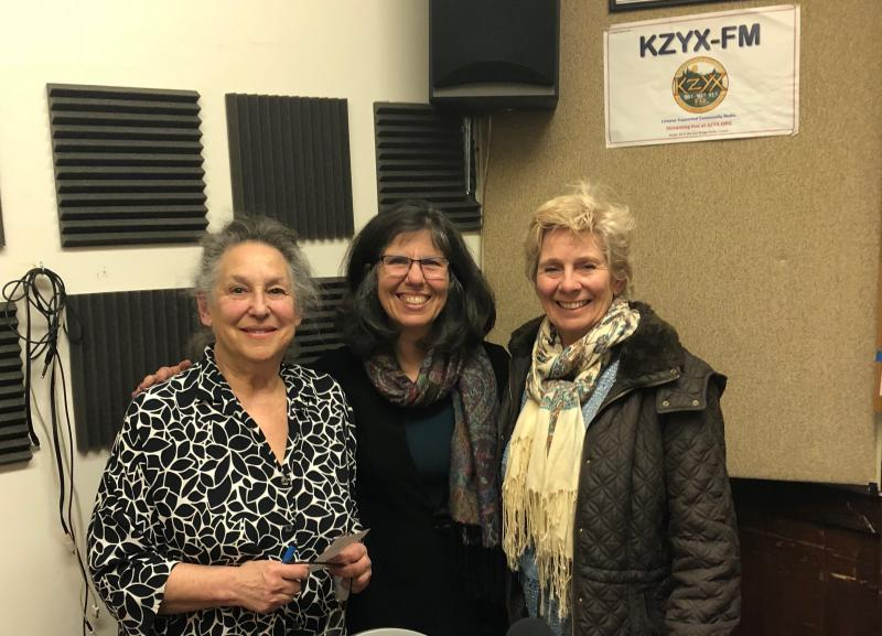 KZYX Mendocino Works guests Rachel Binah (L) and Mary O'Connor (R) with host Mary Anne Petrillo