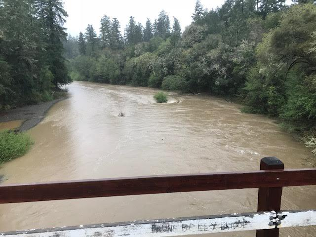 "Sustained rains from a moisture-laden ""atmospheric river"" swell the Navarro River toward flood stage at the Hendy Woods bridge on Philo-Greenwood Road west of Route 128 in Mendocino County on 6 April 2018."