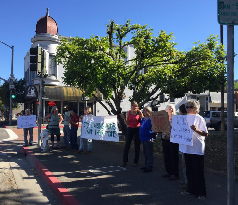 Locals Protest In Front Of The Courthouse In Downtown Ukiah