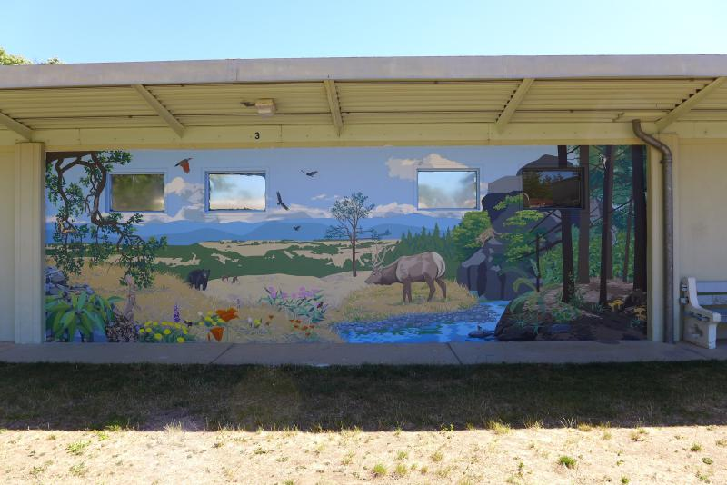 Mendocino County Juvenile Hall mural, by Danza Davis and youth attending school at the Hall
