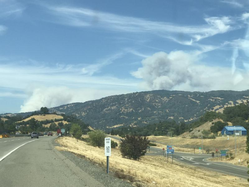 The River and Ranch fires sent up two distinct plumes over Mendocino and Lake counties as seen from Cloverdale on 29 July 2018