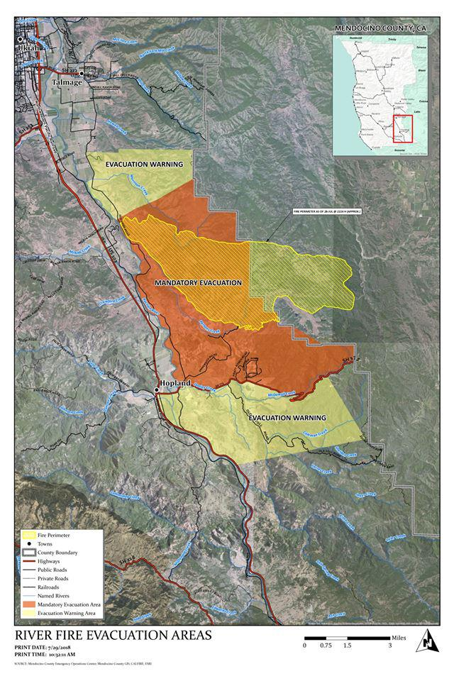 River Fire Evacuation Map
