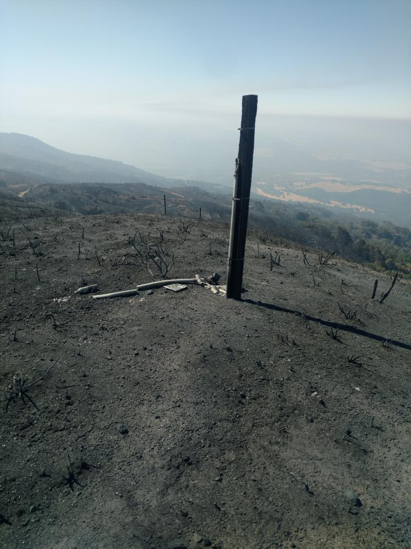 The remains of an HREC weather station that burned in the River Fire.