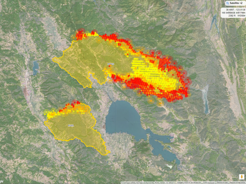 Caltopo topographic satellite view of the Ranch and River Fires on Friday 3 August 2018