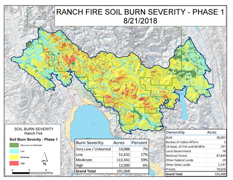 Burn map of the Ranch Fire