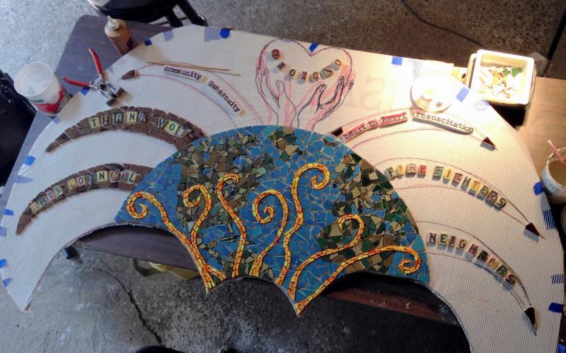 A mosaic in progress.
