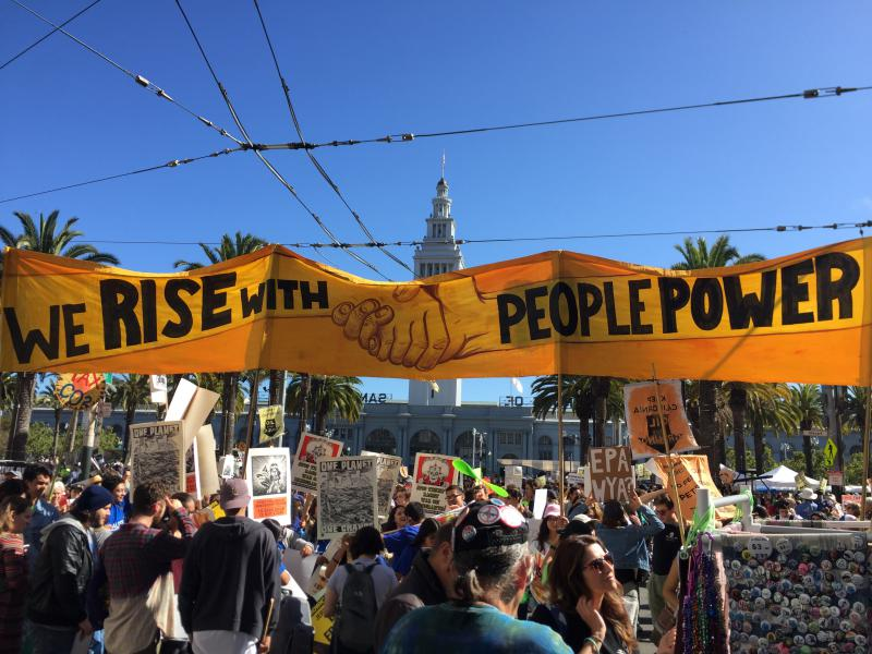 Protesters at the Rise for Climate, Jobs and Justice