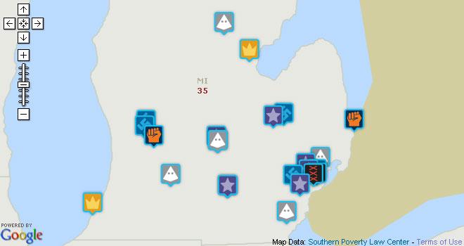 Report Hate Groups In Michigan Michigan Radio - Kkk map us