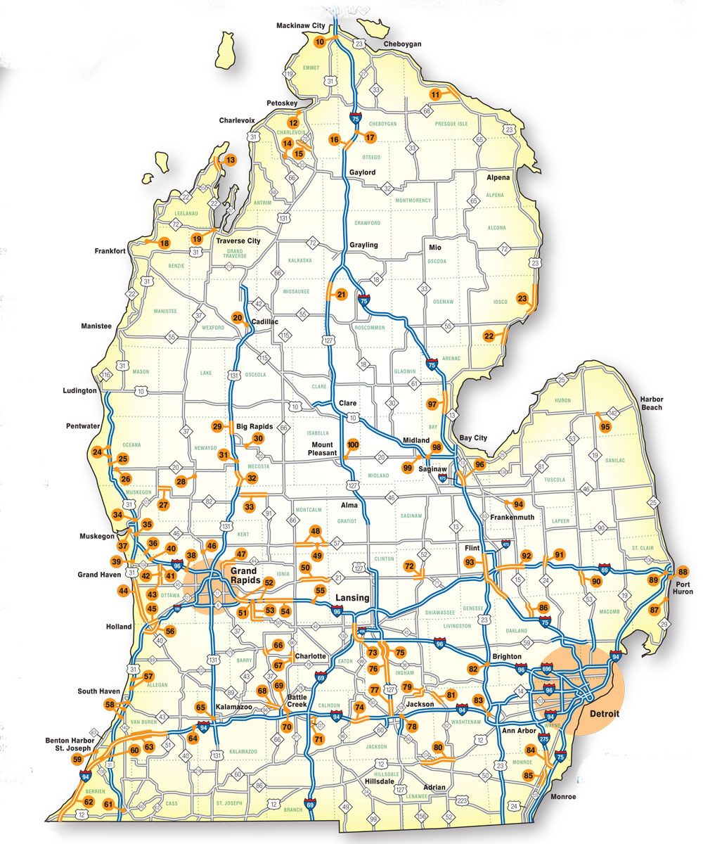 Road Maps Of Michigan Map.This Map Will Show You Where Michigan S Big Road Construction
