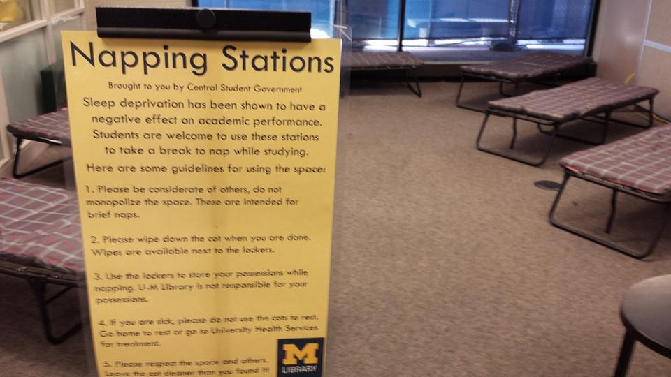 "University of Michigan's undergraduate library adds a ""napping station ..."