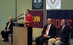 Dean of MSU's College of Human Medicine Marsha Rappley with the presidents of Ho