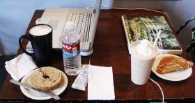 Coffee, bagel, and computers