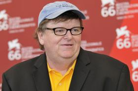 Michael Moore at a film festival in Venice