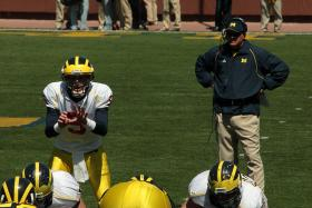 Rich Rodriguez coacing UM football players