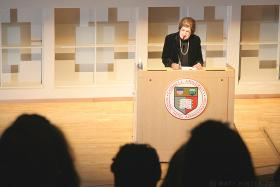 Helen Thomas speaking at Cornell University 