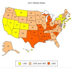 Obesity rates in the U.S. States in orange have obesity rates of 30 percent or more.