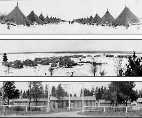 Civilian Conservation Corps camps of Michigan. From top to bottom: Camp Newberry in Luce County, Michigan; Camp Newberry with more permanent buildings; Camp Au Sale in Grayling, Michigan.