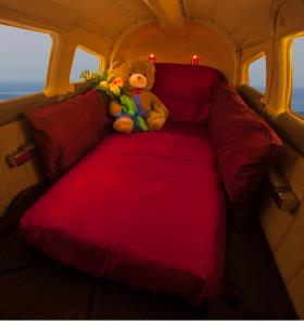 "Inside the Piper Cherokee Six. Their website reads ""Plenty of room for your romantic encounter."""