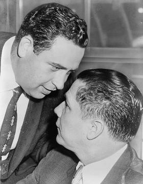 Jimmy Hoffa with Bernard Spindel in 1957. 