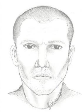A sketch of the man suspected of random shootings in a four-county area along I-96 in Michigan.