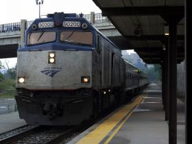 "The Amtrak ""Wolverine"" arriving in Ann Arbor."
