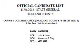 The candidates for Oakland County Commissioner in the 5th District. 