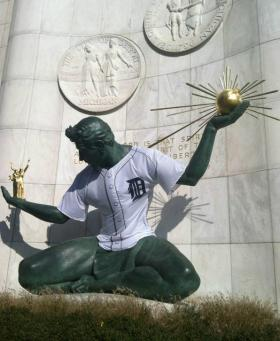 The Spirit of Detroit is ready for Game 1 of the World Series.