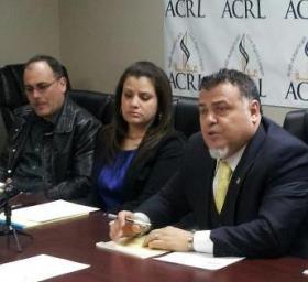 ACRL attorneys Nabih Ayad, right, and Rana Abbas, center.