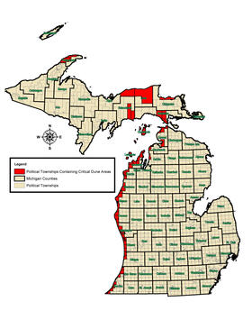 Townships in Michigan where 'critical dunes' are located.