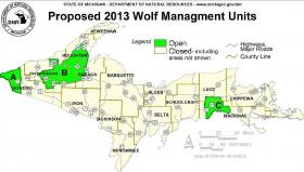 Wolf management units in Michigan's Upper Peninsula. Sixteen wolves are targeted in area A, 19 wolves in area B, and 8 wolves in area c.
