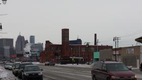 A view of skyline from the Corktown neighborhood.