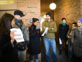 Students protesting inside the Fleming Building on the campus of the University of Michigan in Ann Arbor on Feb. 25, 2014.