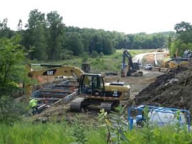 This picture shows crews working on the new pipeline in southern Ingham County last year.