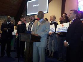 Christian leaders speak out for same-sex marriage rights at Detroit's Salem Memorial Church.