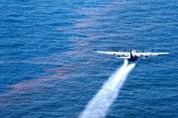 Air Force airplane spraying dispersant chemicals on Gulf oil spill